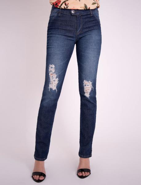 Calça Slim cintura alta com Bolso Faca