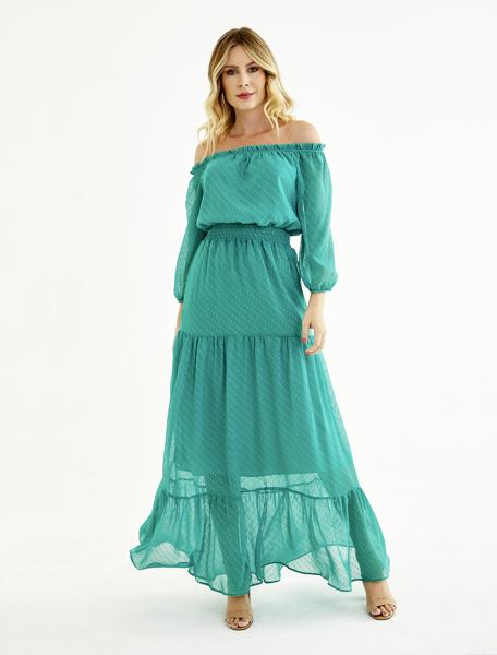 vestido longo poá